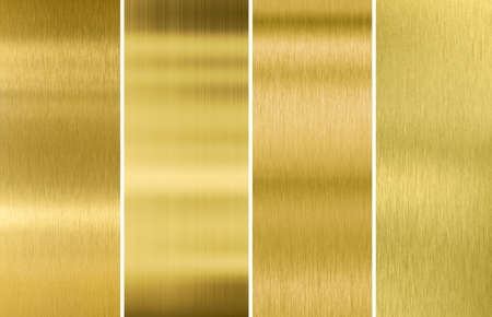 Four various brushed gold metal textures set