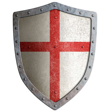 crusader: Old templar or crusader metal shield isolated on white