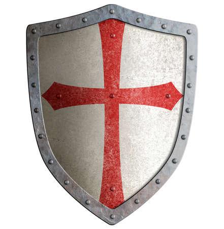 テンプル騎士団や十字軍の金属シールドを白で隔離 写真素材
