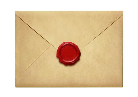 흰색으로 격리 왁 스 물개와 함께 오래 된 우편 봉투 스톡 콘텐츠