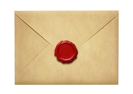 Old mail envelope with wax seal isolated on white