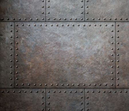 steel background: metal texture with rivets as steam punk background Stock Photo