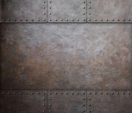 rust metal texture with rivets background Standard-Bild