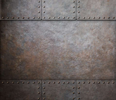 rust metal texture with rivets background Stock Photo