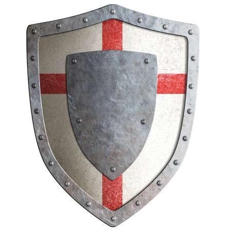 Oude Templar of kruisvaarder metaal schild geïsoleerd op wit Stockfoto