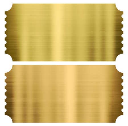 gold cinema or theather tickets set isolated on white Archivio Fotografico