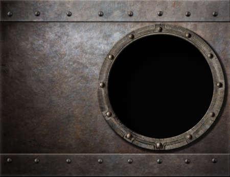 U-Boot oder Schlachtschiff Bullauge Metall-Hintergrund Standard-Bild