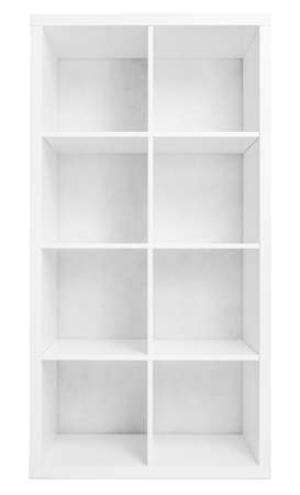 Empty shelving or library bookcase isolated photo