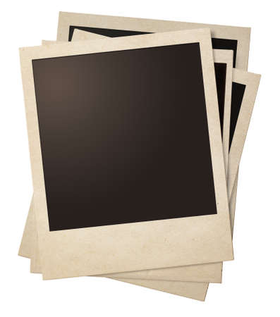 polaroid retro fotolijsten stapel geïsoleerd op wit Stockfoto