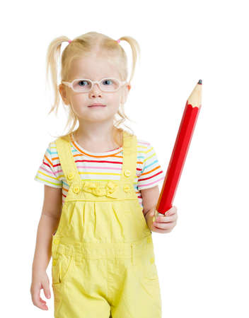 hyperopia: Funny kid in eyeglasses with red pencil isolated on white