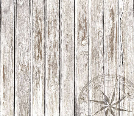 Old vintage wood background with compass Standard-Bild
