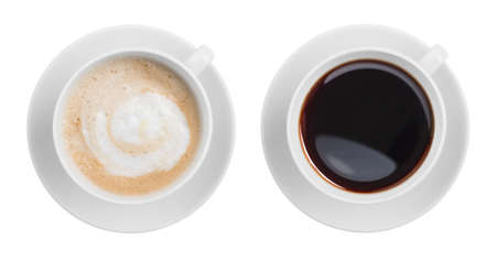 cappuccino and black espresso coffe cup top view isolated on white