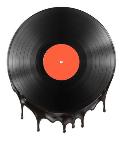 vinyl: melted or hot vinyl record disc isolated