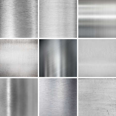 metal plates textured backgrounds set photo