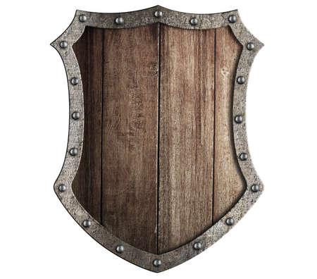 medievales: aislado escudo de madera medieval Foto de archivo