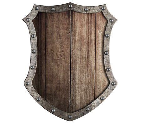 metal shield: medieval wooden shield isolated Stock Photo