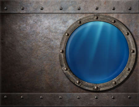 submarine or battleship porthole steam punk metal background Stock Photo