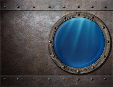 a battleship: submarine or battleship porthole steam punk metal background Stock Photo