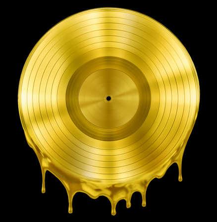 골드 녹은 또는 녹은 레코드 음악 디스크 수상 블랙 절연 스톡 콘텐츠 - 34045496