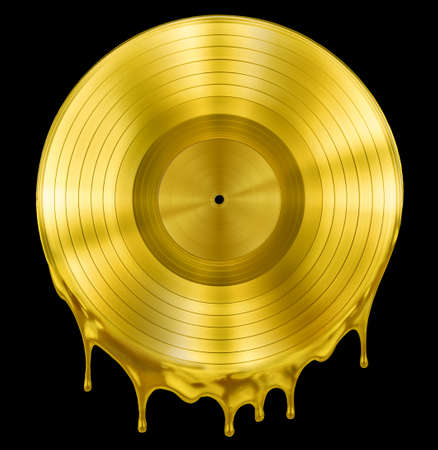 gold record: gold molten or melted record music disc award isolated on black