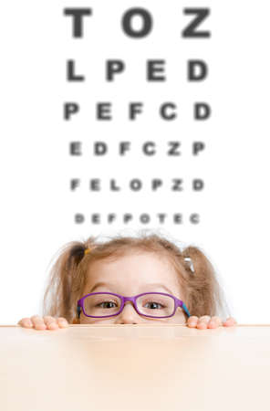 hyperopia: Funny girl in eyeglasses with eye chart