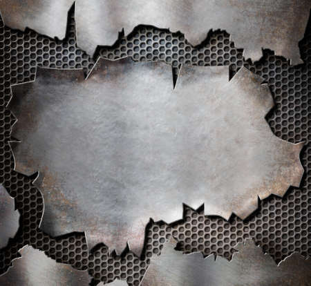 grunge torn metal plate as steam punk background photo