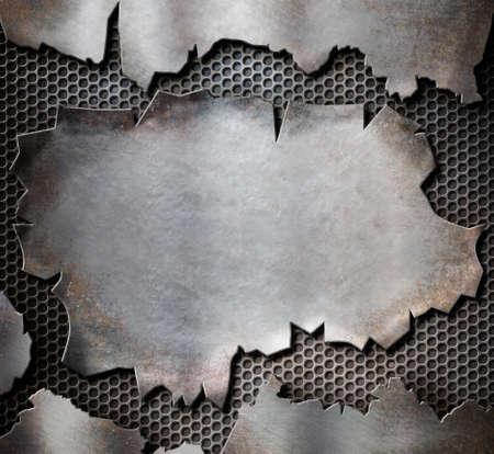 torn metal: grunge torn metal plate as steam punk background