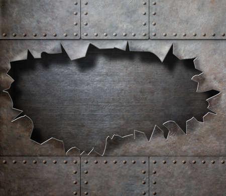 oxidado: armadura de metal dañada con el agujero rasgado fondo steam punk
