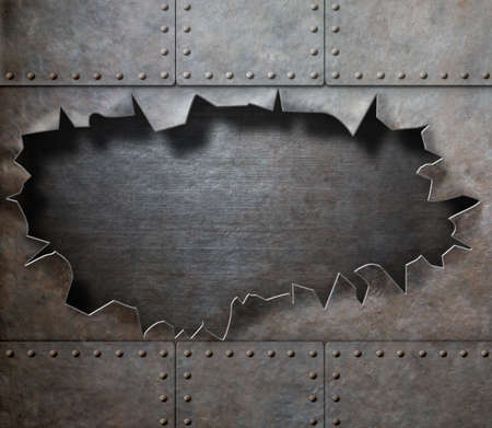 metal background: damaged metal armor with torn hole steam punk background
