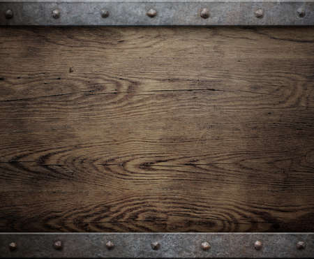 old wood background with metal frame Stock Photo