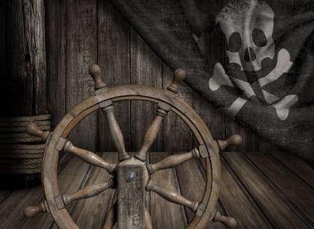 helm boat: Piratas buque volante con viejo y alegre bandera roger Foto de archivo