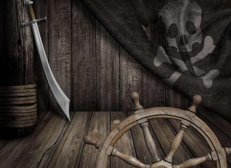 barco pirata: Piratas buque volante con viejo y alegre bandera roger y sable