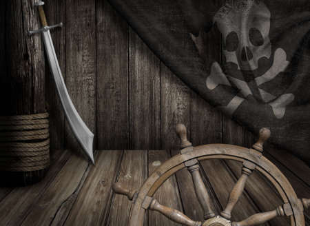 Pirates ship steering wheel with old jolly roger flag and saber Standard-Bild