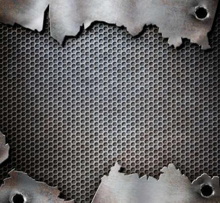 rivet: grunge metal background with bullet holes