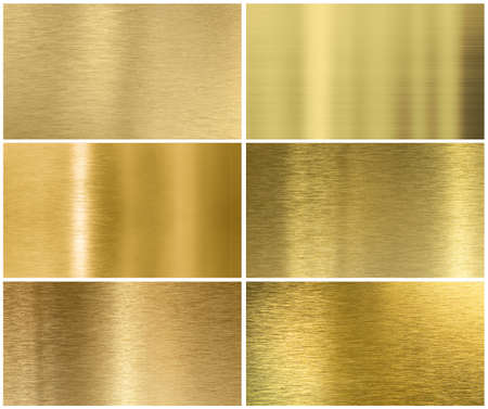 Golden or brass metal texture or background set photo