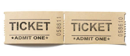 cinema ticket: old vintage paper tickets pair isolated Stock Photo