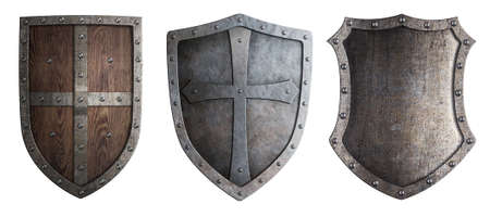 cross arms: metal medieval shields set isolated Stock Photo
