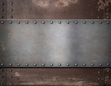 rivets: metal plate with rivets over rustic steel background Stock Photo