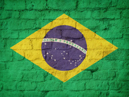 construction material: Brazil flag painted on brick wall background
