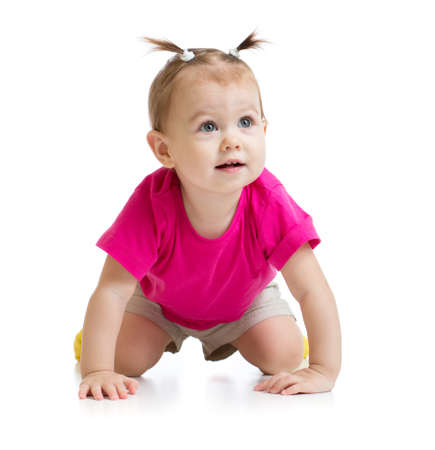 crawling baby front view isolated