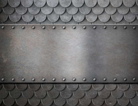 armoring: metal plate over scales armor background