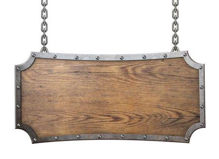houten bord met metalen frame met klinknagels geïsoleerde Stockfoto
