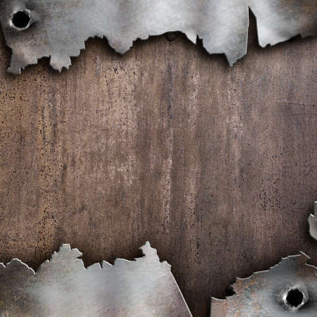 holes: old cracked metal steam punk background Stock Photo