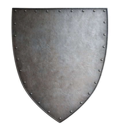 metal shield: Simple medieval coat of arms metal shield isolated