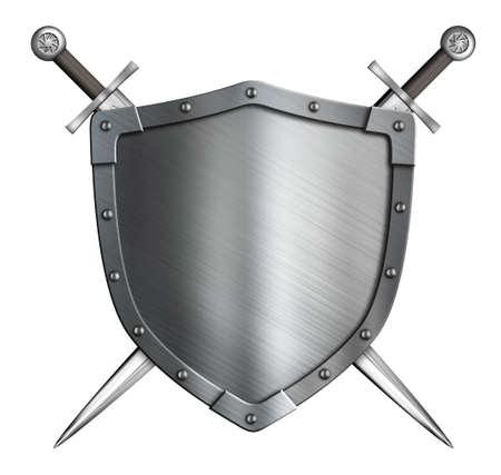 medieval swords: escudo de armas del escudo de caballero medieval y espadas cruzadas aislados