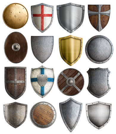 medieval armour and knight shields assortment Stock Photo