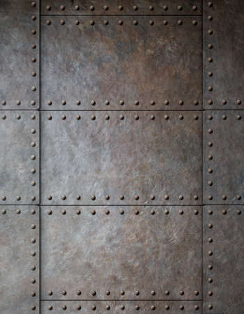 rust metal: steel metal armour background with rivets