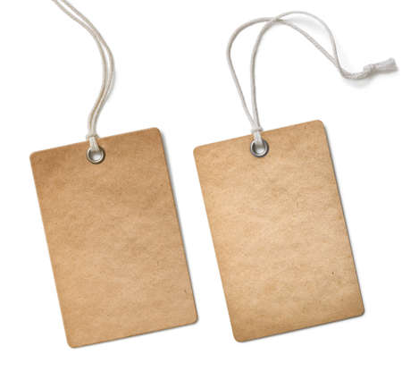 etiquetas de ropa: aislado vieja etiqueta de paño de papel o etiqueta conjunto