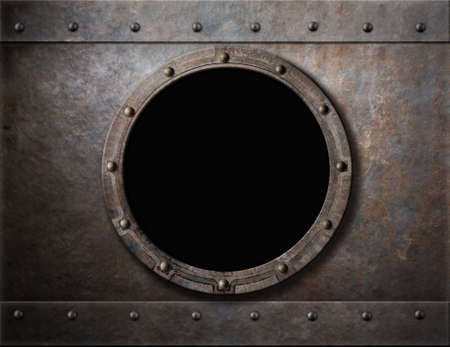 acier: hublot blindé sous-marin ou fond de la fenêtre de métal