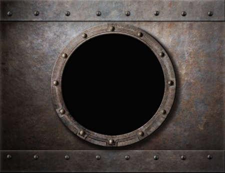 metales: ojo de buey blindado submarino o ventana de metal de fondo Foto de archivo